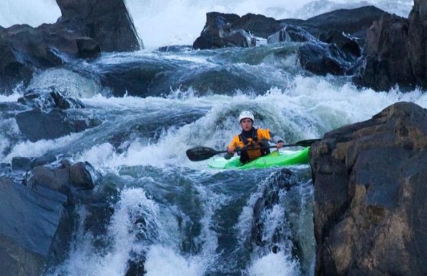Kayakers running Great Falls of the Potomac River