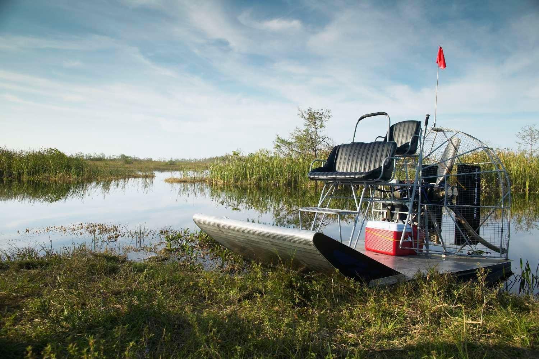 Air boat on bank of creek, Everglades, Florida, USA