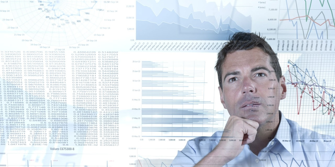 Businessman working with graphs