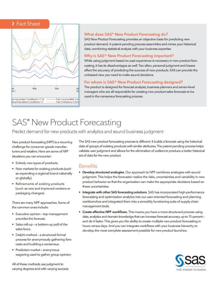 SAS®  New Product Forecasting