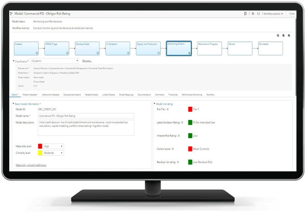 SAS Model Risk Management (MRM) showing model object on desktop monitor
