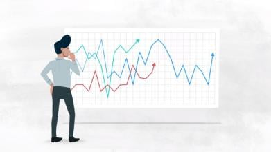 Thinking man in front of graphs illustration