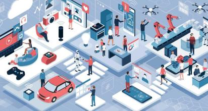 Blockchain, internet of things and lifestyle -- blockchain, internet of things and lifestyle -- people using connected devices and touch screen interfaces, robots, and smart industry