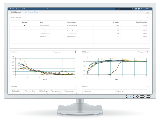 SAS® Visual Data Mining and Machine Learning on desktop - model pipeline best model selection