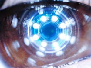 Close up of female robot eye