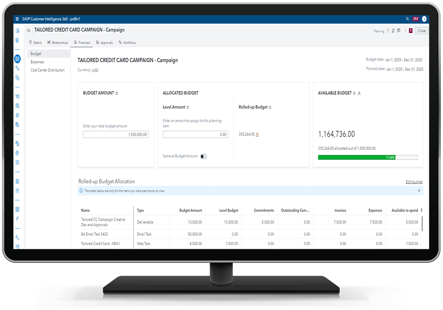 SAS 360 Plan showing financials on desktop monitor