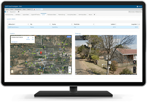 SAS Continuous Monitoring for Procurement Integrity showing geospatial and location view of suppliers on desktop monitor