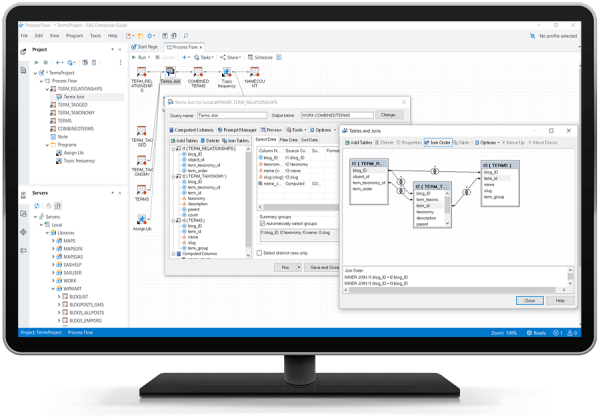 SAS Enterprise Guide showing tables and joins under Query Builder on desktop monitor