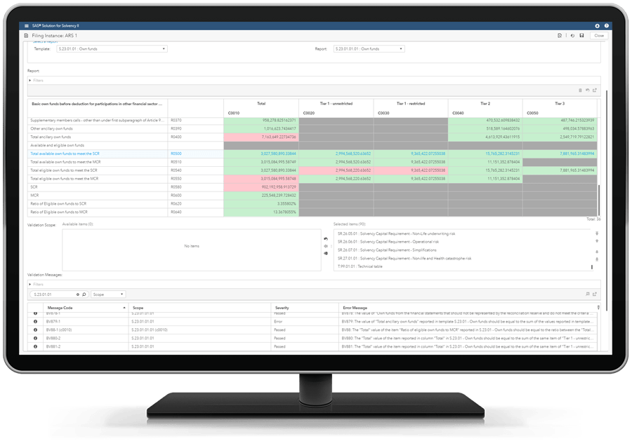 SAS Solution for Solvency II showing report in RGF on desktop monitor