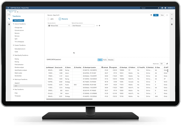 SAS Visual Analytics showing self-service data preparation on desktop monitor