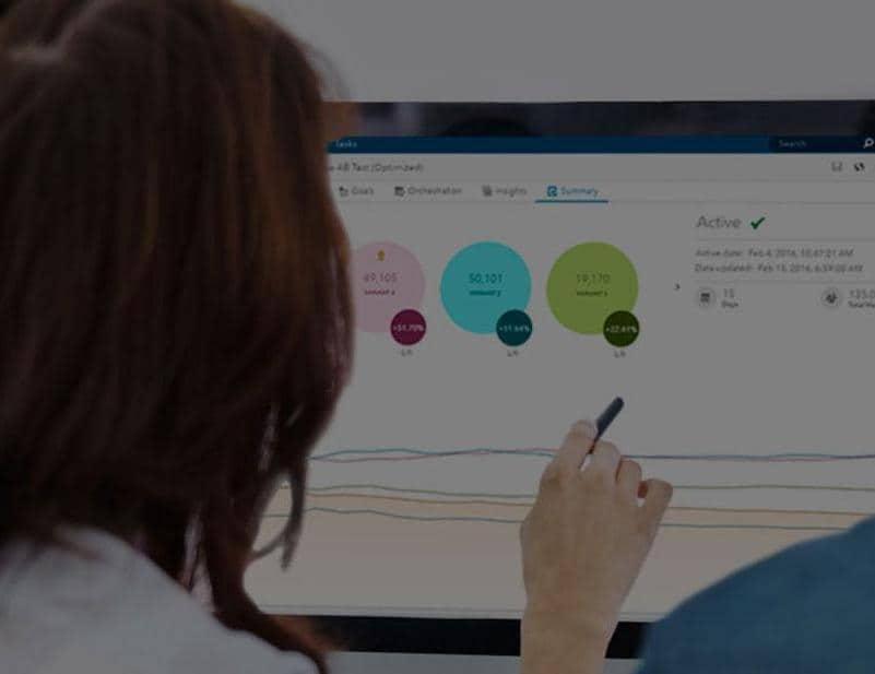 woman looking at desktop
