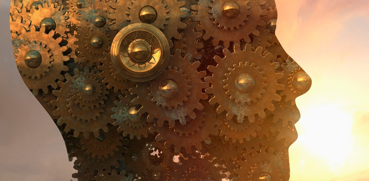 Gears form silhouette of head