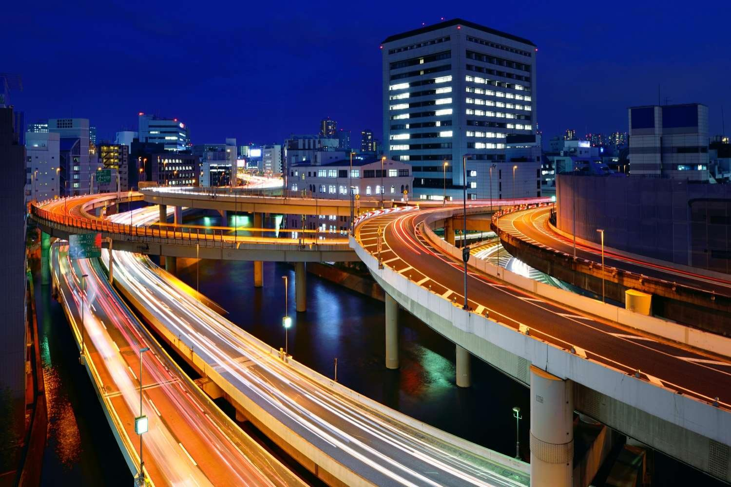 Tokyo Expressway junction at twilight