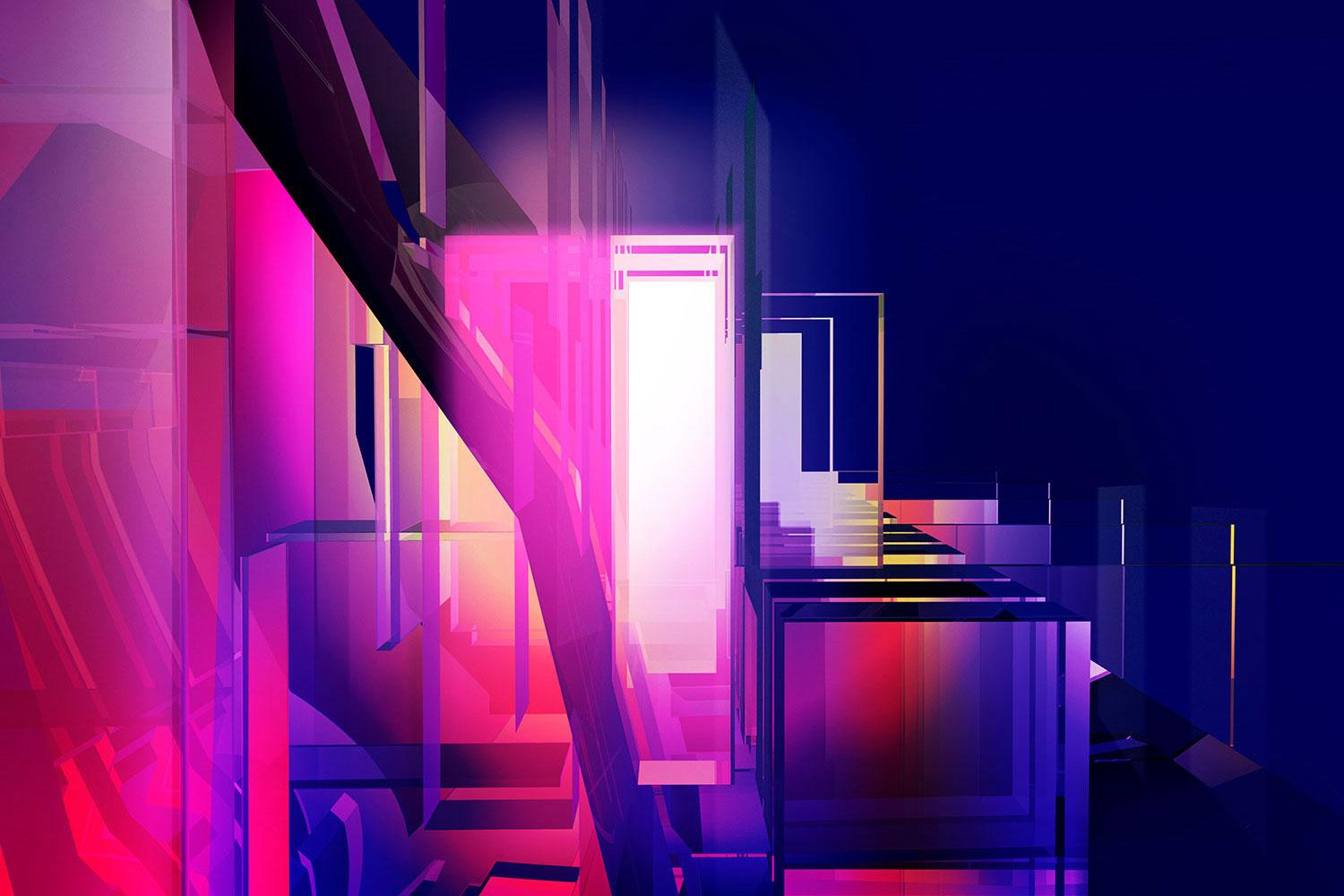 Abstract pink to blue rectangles