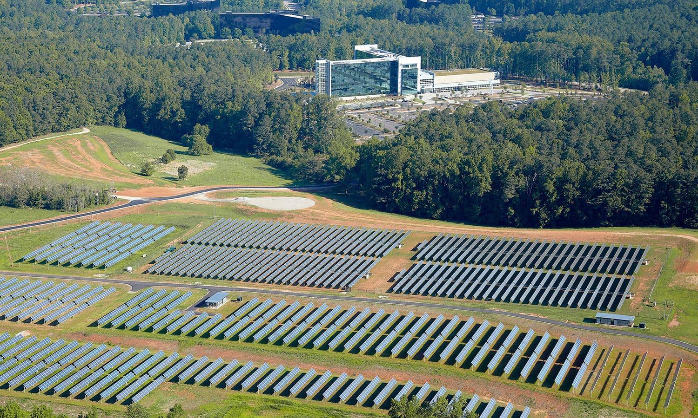 SAS solar farm aerial view