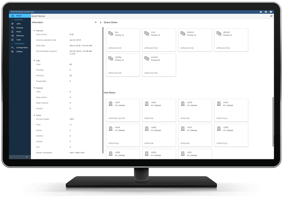 SAS Grid Manager on desktop monitor showing home screen