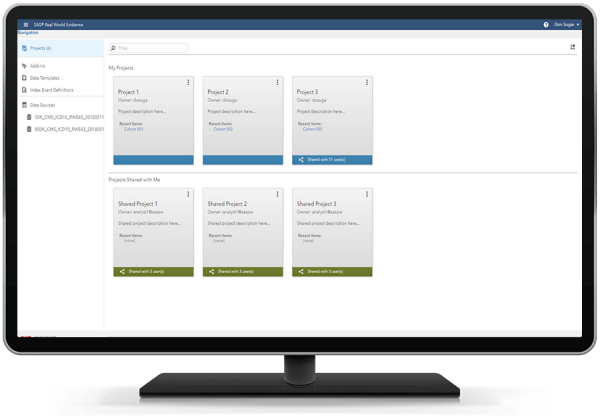 SAS Real World Evidence showing shared projects on desktop monitor