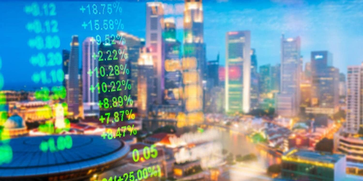 Financial stock market numbers overlaid on city