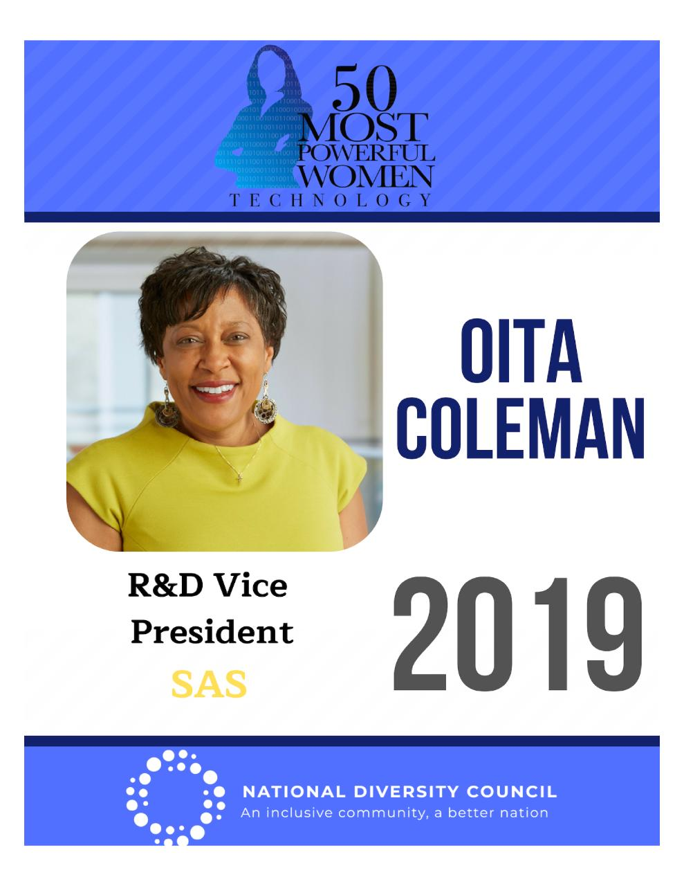 National Diversity Council Award for Oita Coleman>50 Most Powerful Women in Technology