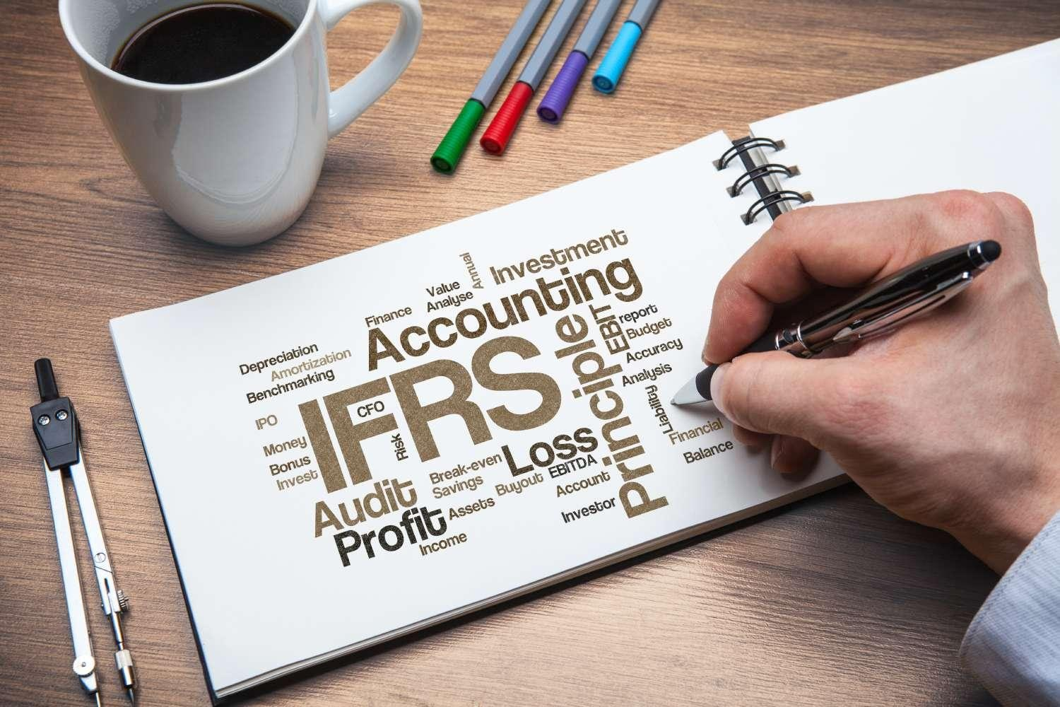 Open notebook with a word cloud of financial accounting terms