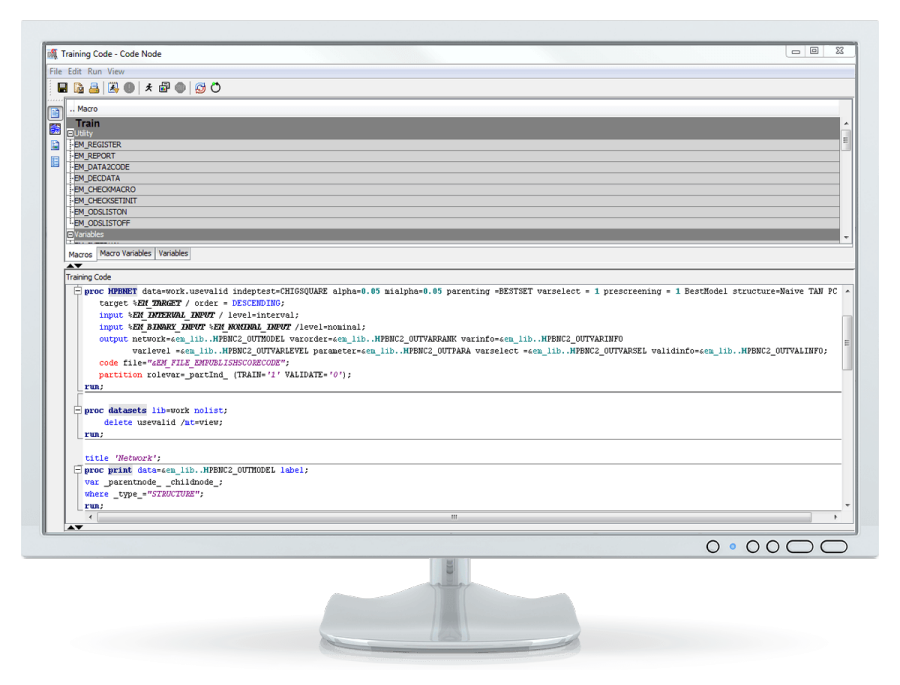 SAS® Enterprise Miner: code node - on desktop computer