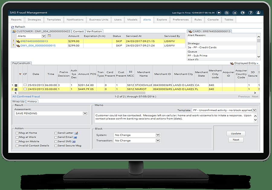 SAS Fraud Management - alerts