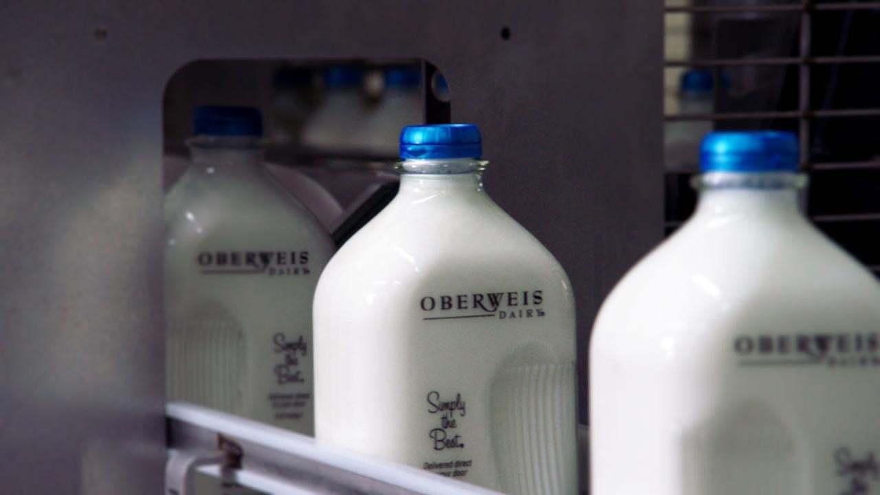 Oberweis milk bottles