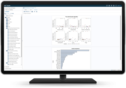 SAS Machine Learning on SAS Cloud showing gradient boosting on desktop monitor