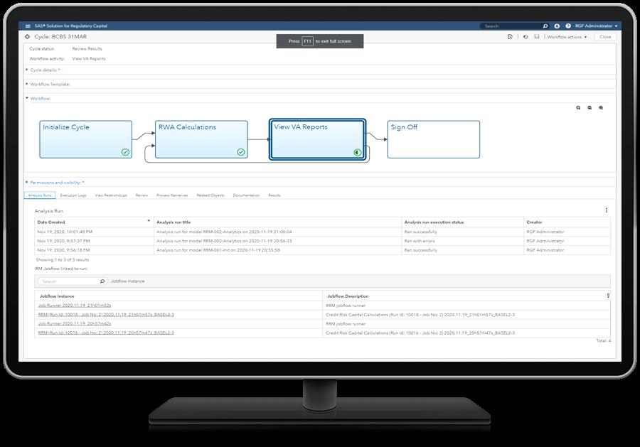 SAS Solution for Regulatory Capital on desktop monitor