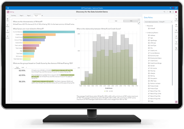 SAS Visual Data Mining and Machine Learning showing automated explanations on desktop monitor