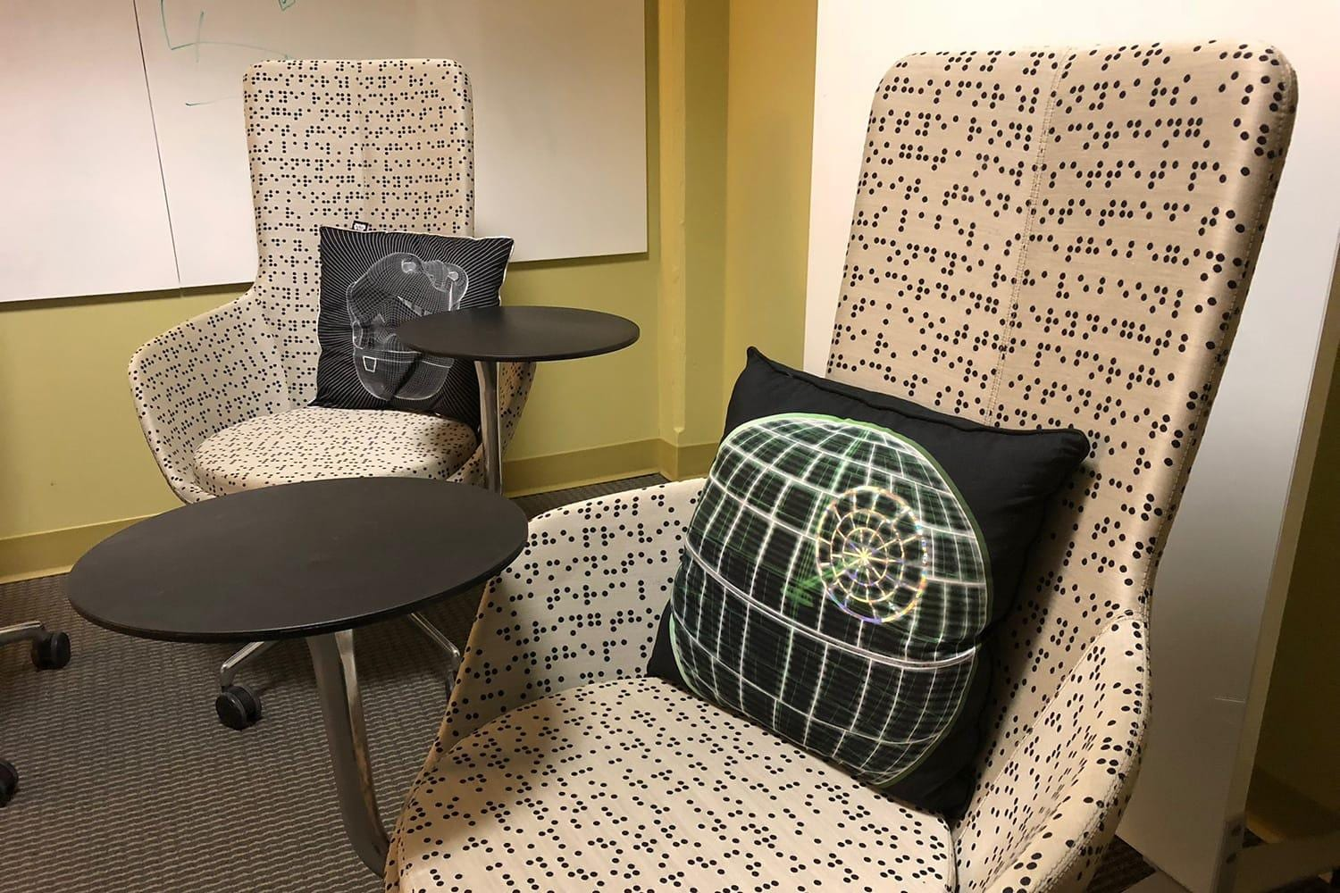 Decorative chairs in the design center