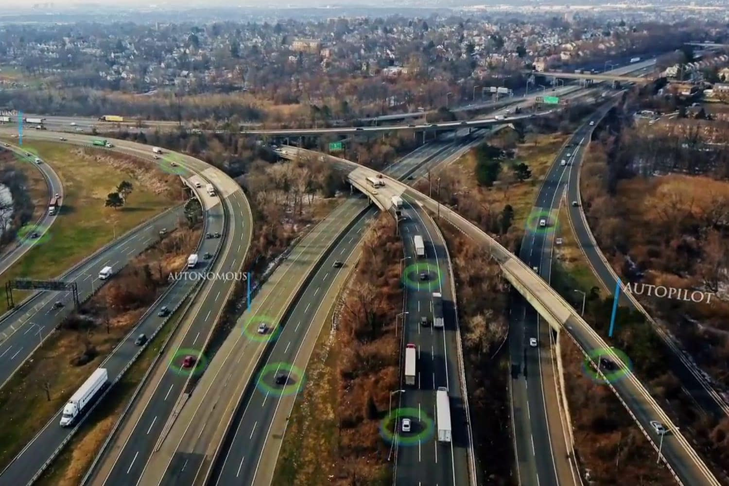 Overhead shot of self-driving cars on highway