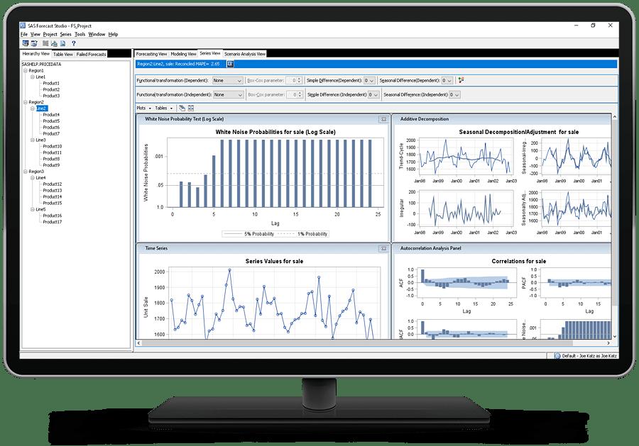 SAS Forecast Server showing series view on desktop monitor
