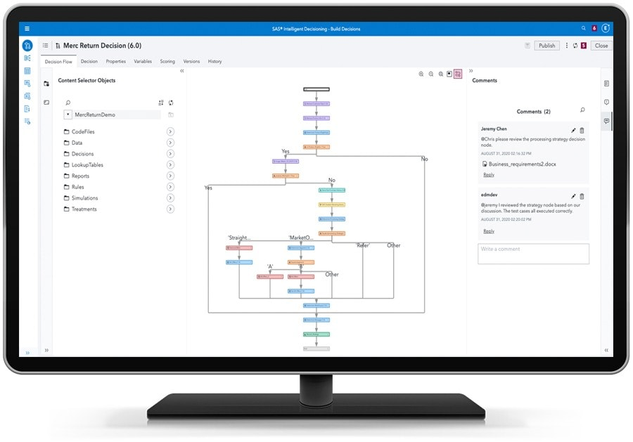 SAS Intelligent Decisioning showing retail decision flow on desktop monitor
