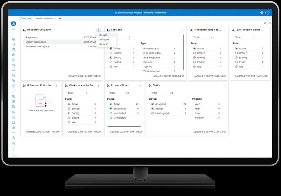 SAS Life Science Analytics Framework showing overview dashboard on desktop monitor