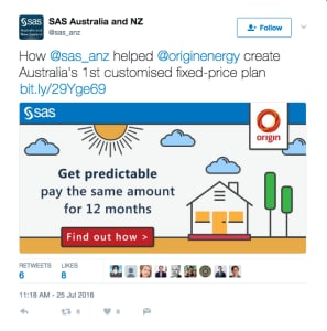 SAS Software tweet about Origin Energy