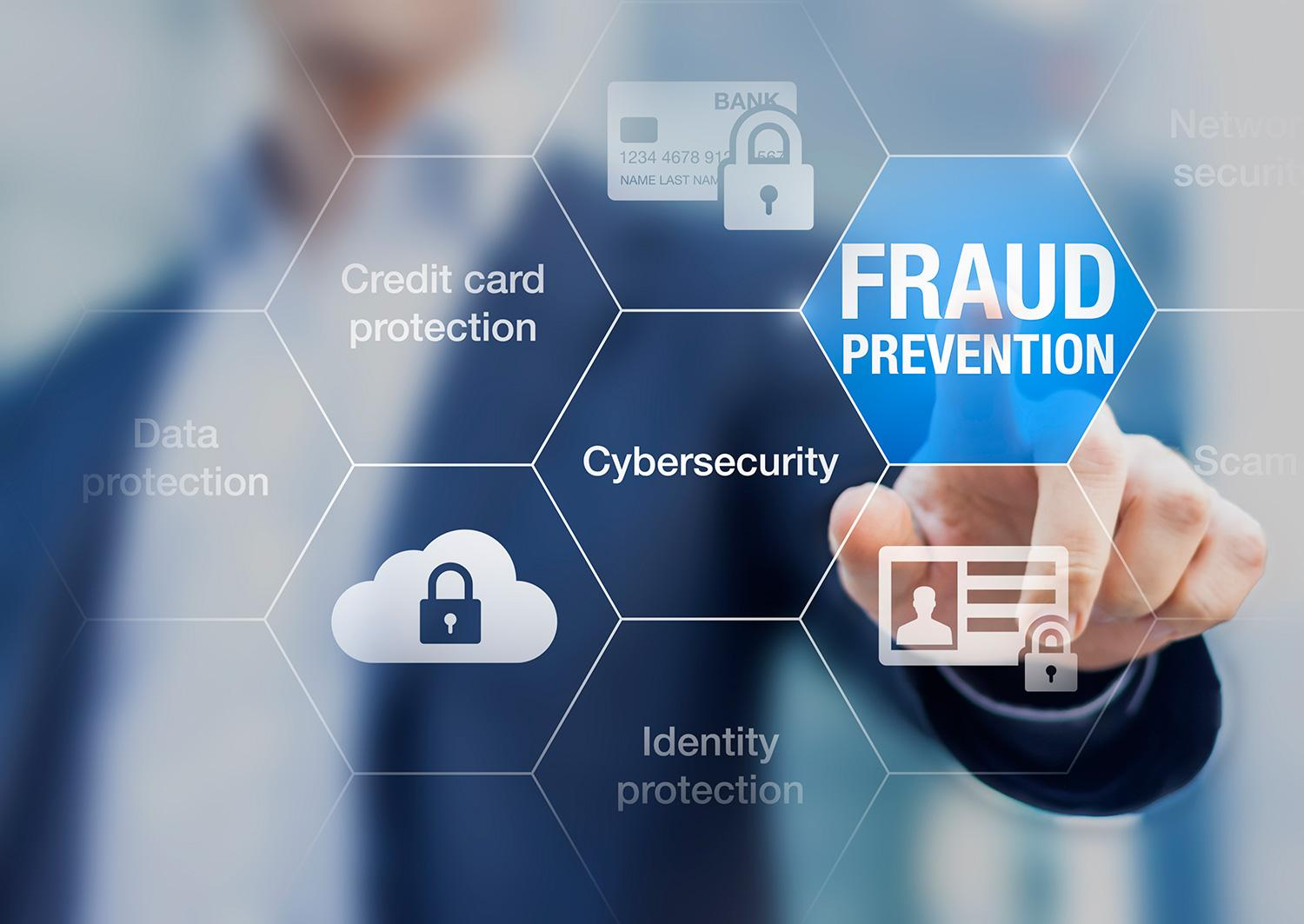 Business person pushes a digital fraud prevention button