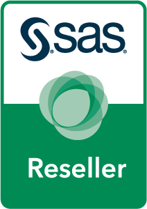 SAS Reseller Partner badge art, horizontal format, white background