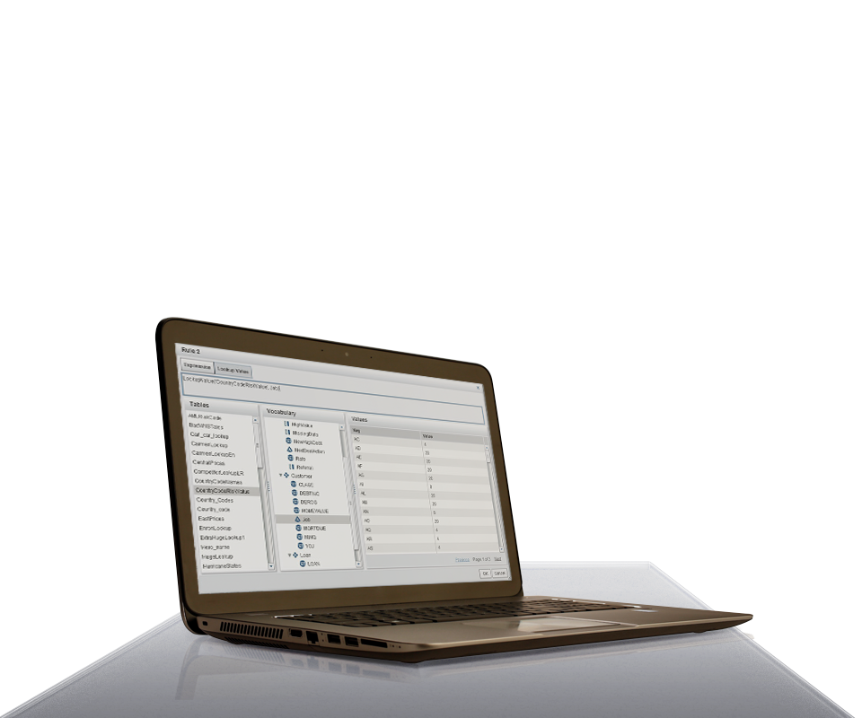 SAS Business Rules Manager shown on laptop