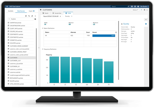 SAS Data Quality showing bundled visualization and reporting engine capabilities on desktop monitor