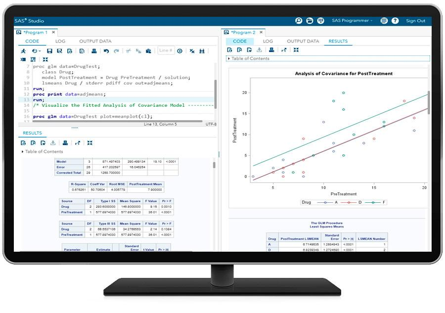 Education Analytical Suite showing SAS/STAT on desktop monitor