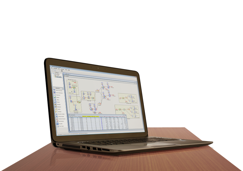 SAS Simulation Studio shown on laptop