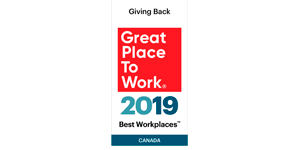 2019 Great Place to Work - Giving Back Canada