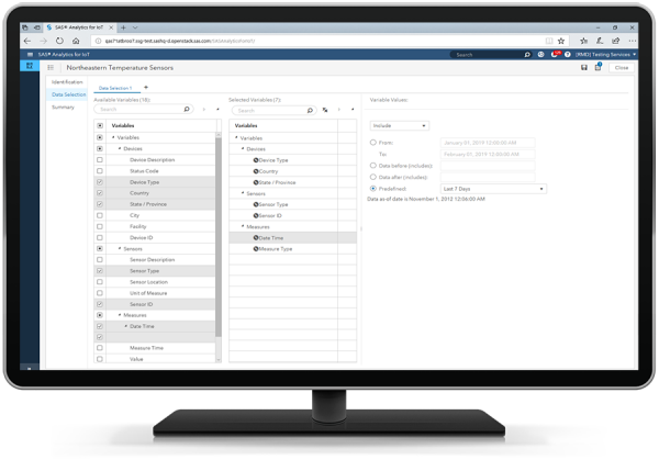 SAS Analytics for IoT showing data selection on desktop monitor