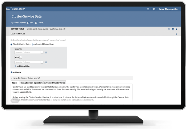 SAS Data Loader for Hadoop showing the Cluster-Survive directive on desktop monitor