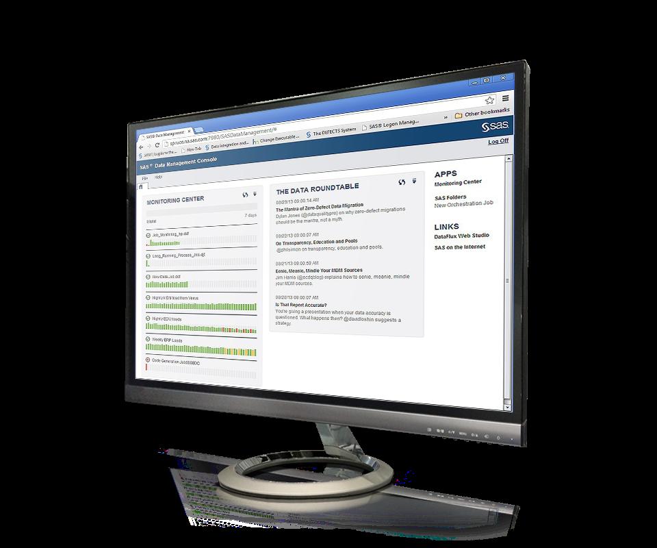 SAS® Data Management - centralized console screenshot on monitor