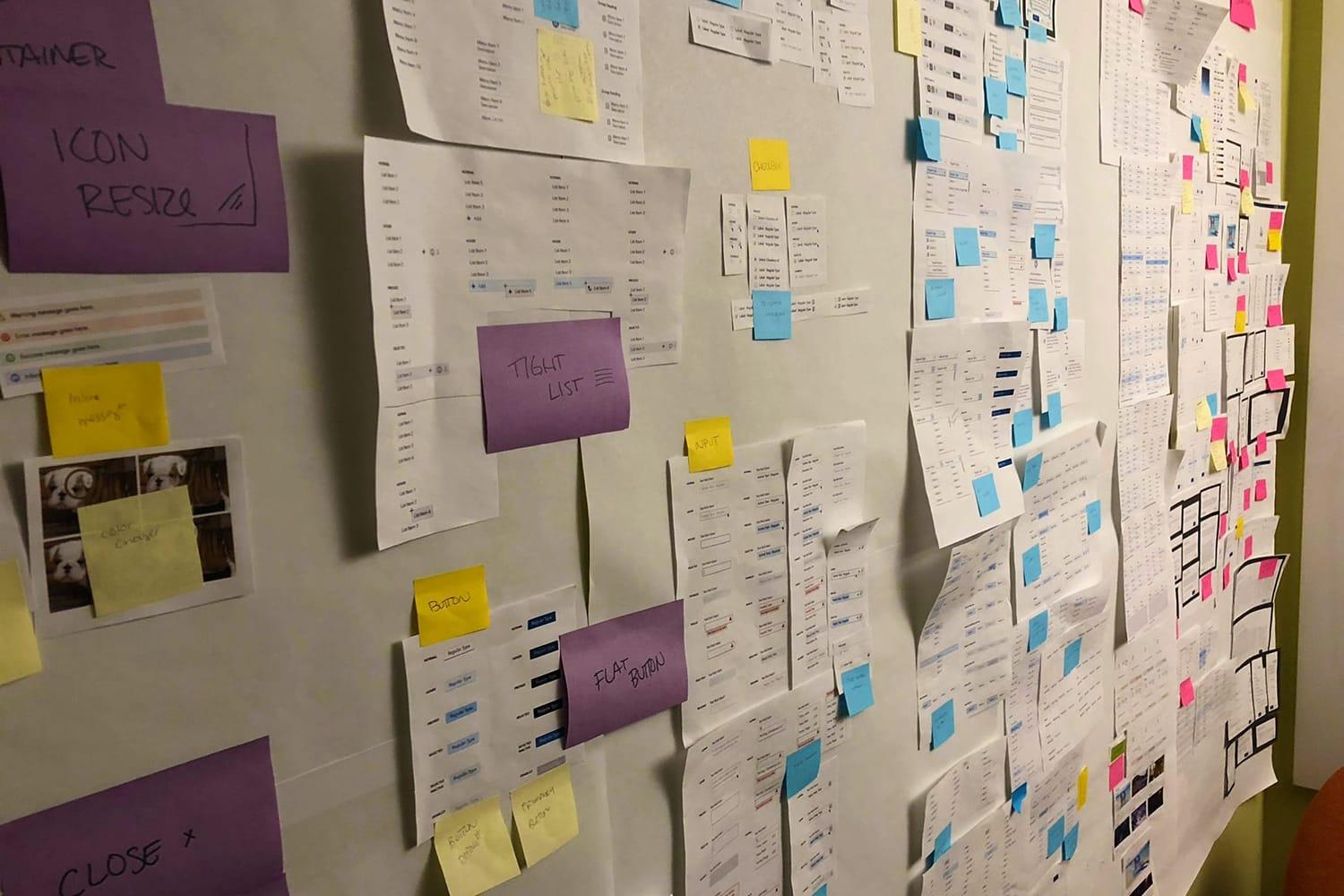 Wall of sticky notes in design center