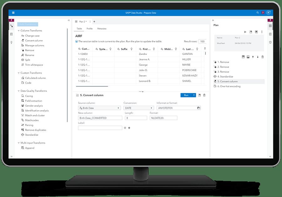 SAS Data Management showing data tab on desktop monitor