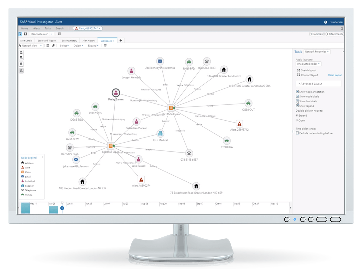 SAS Detection and Investigation for Insurance screenshot showing network view on desktop monitor
