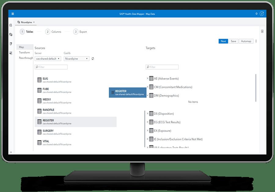 SAS Health showing data mapping on desktop monitor